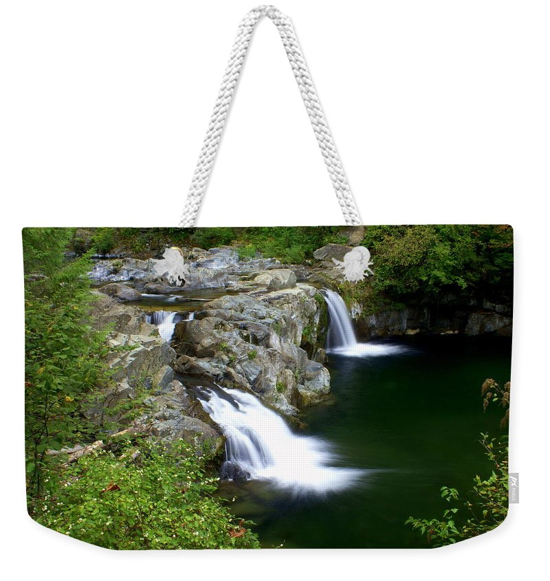 Waterfall Weekender Tote Bag featuring the greeting card Double Twin 2 by Marty Koch