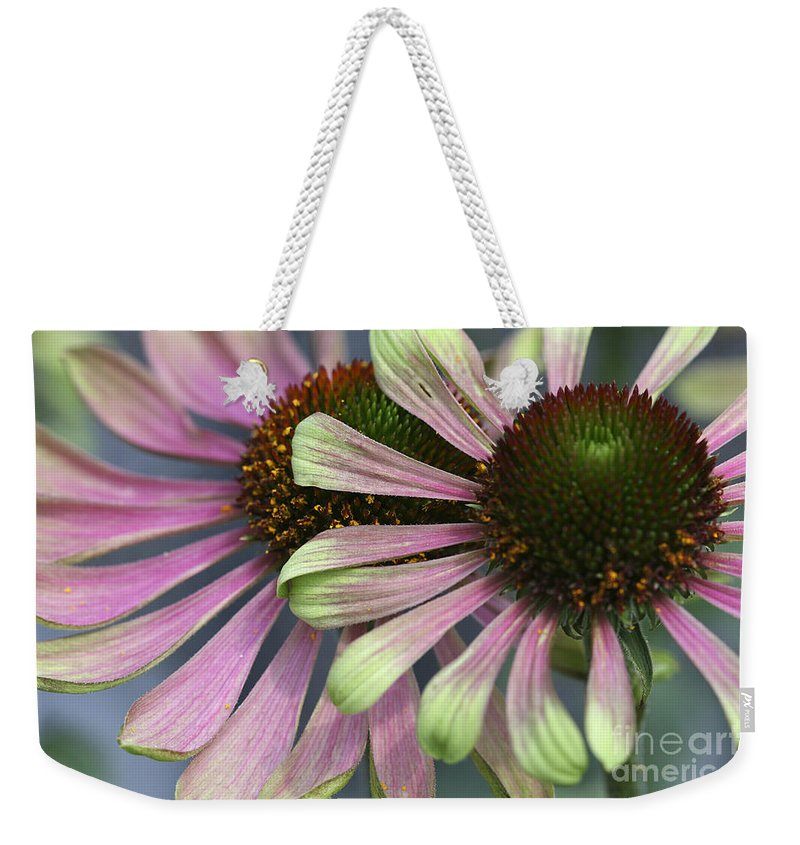 Flower Weekender Tote Bag featuring the photograph Double Vision Cone by Deborah Benoit