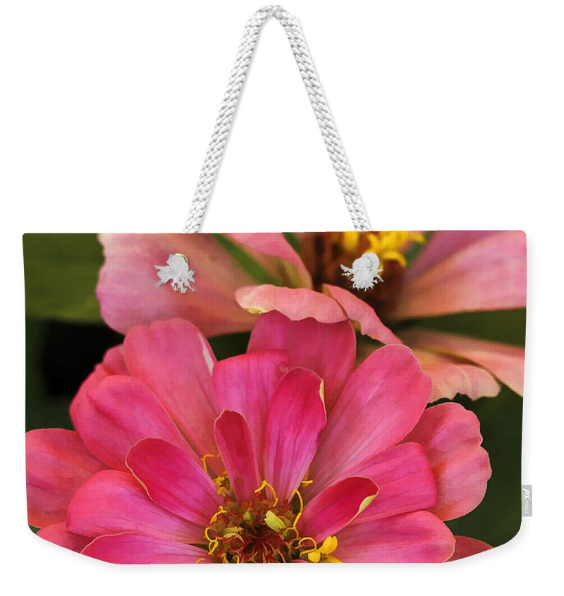 Flower Weekender Tote Bag featuring the photograph Double Vision In Pink by Deborah Benoit