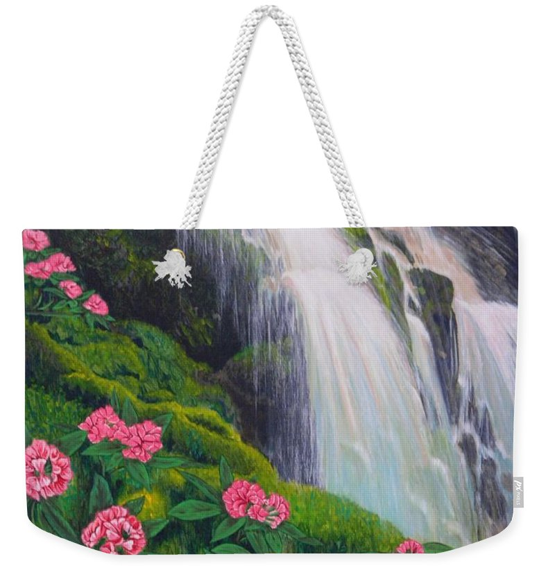 Waterfall Weekender Tote Bag featuring the painting Double Hawaii Waterfall by Mary Deal