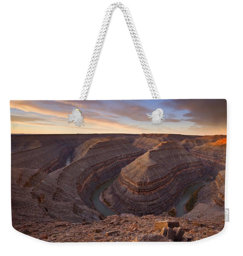 Goosenecks State Park Weekender Tote Bag featuring the photograph Doubleback by Mike Dawson