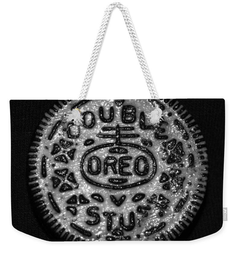 Oreo Weekender Tote Bag featuring the photograph Doulble Stuff Oreo In Black And White by Rob Hans