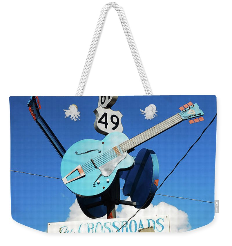 Clarksdale Weekender Tote Bag featuring the photograph Down At The Crossroads by James Kirkikis