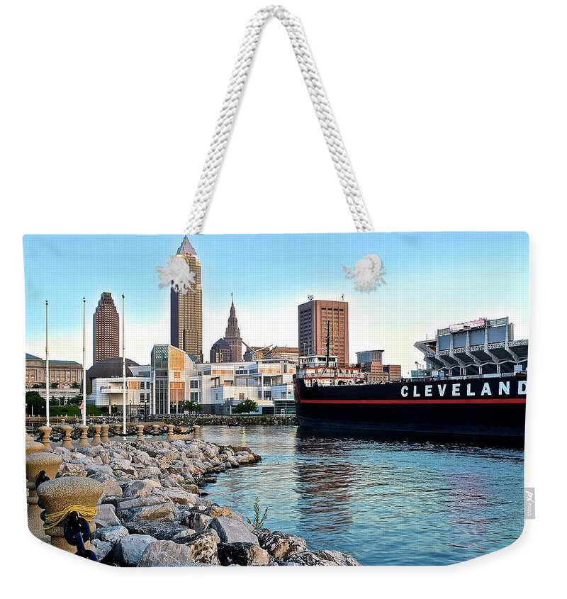 Cleveland Weekender Tote Bag featuring the photograph Down By The Lake by Frozen in Time Fine Art Photography
