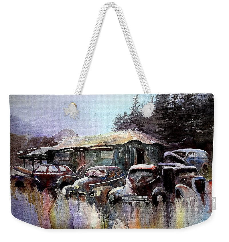 Cars House Weekender Tote Bag featuring the painting Down In The Dell by Ron Morrison