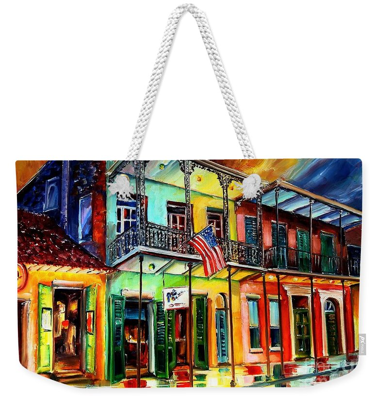 New Orleans Weekender Tote Bag featuring the painting Down On Bourbon Street by Diane Millsap