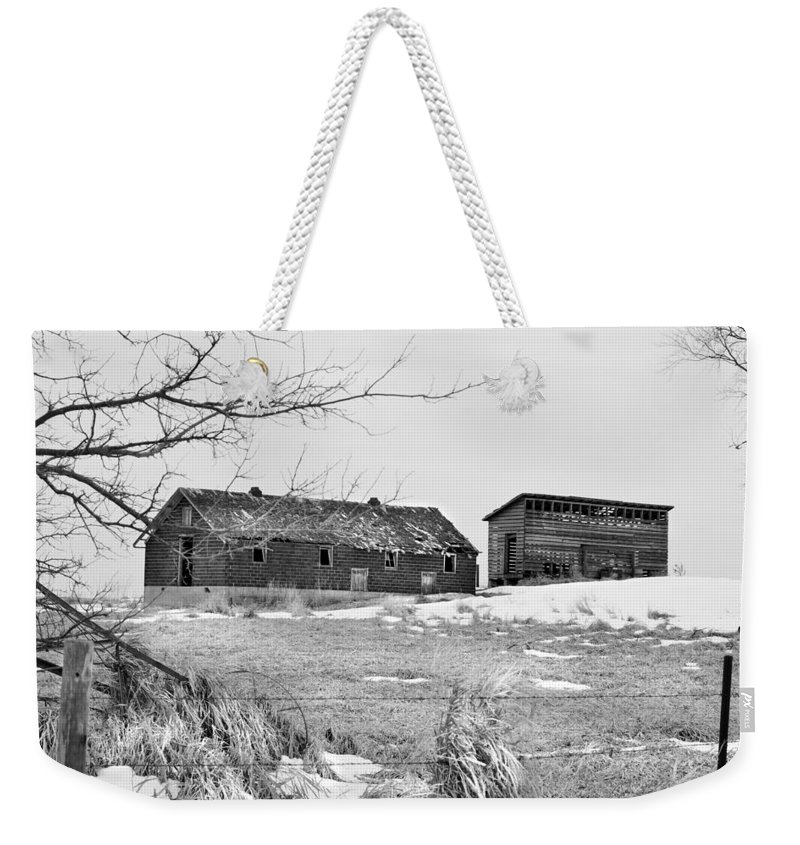 Corn Crib Weekender Tote Bag featuring the photograph Down On The Farm Bw by Bonfire Photography