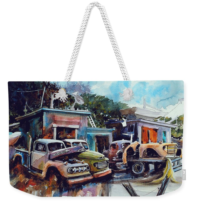 Trucks Weekender Tote Bag featuring the painting Down on the Lower Road by Ron Morrison