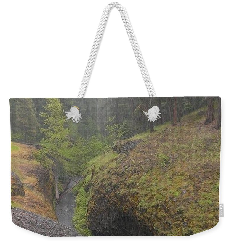 Boulder Cave Weekender Tote Bag featuring the photograph Down Pour At Boulder Cave by LKB Art and Photography