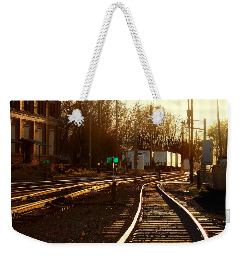 Landscape Weekender Tote Bag featuring the photograph Down The Right Track 2 by Steve Karol