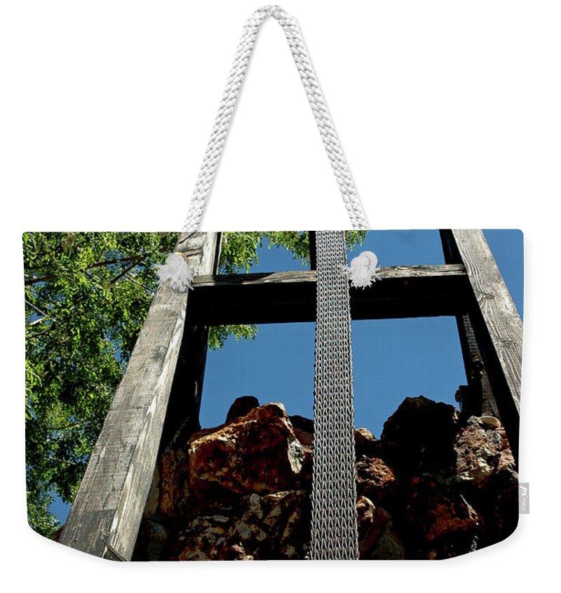 Usa Weekender Tote Bag featuring the photograph Down The Shaft Virginia City Nv by LeeAnn McLaneGoetz McLaneGoetzStudioLLCcom