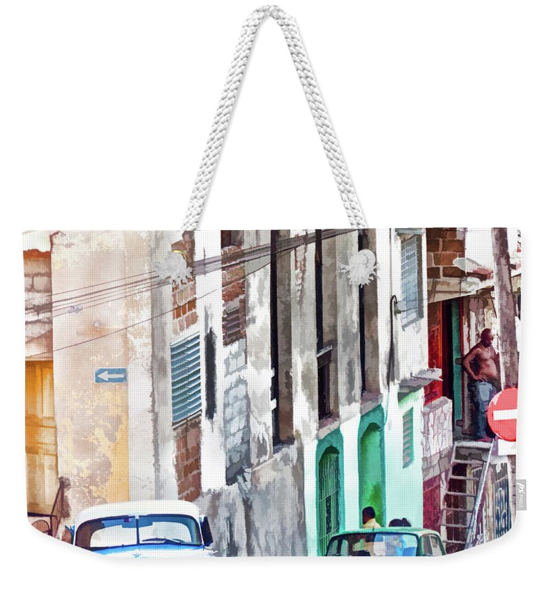 Cuba Weekender Tote Bag featuring the photograph Down The Street by Claude LeTien