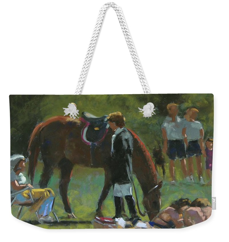 Horse Weekender Tote Bag featuring the painting Down Time by Mary McInnis