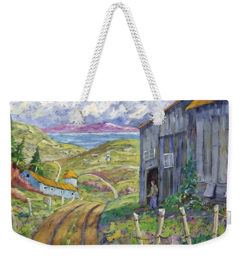 Art Weekender Tote Bag featuring the painting Down To The Fjord by Richard T Pranke