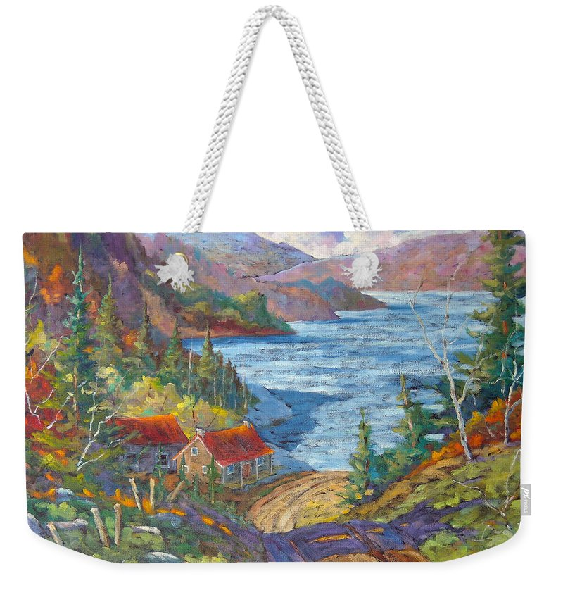 Landscape Weekender Tote Bag featuring the painting Down To The Lake by Richard T Pranke