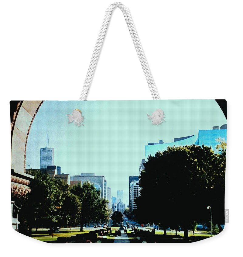 Toronto Weekender Tote Bag featuring the photograph Down University Avenue by Ian MacDonald