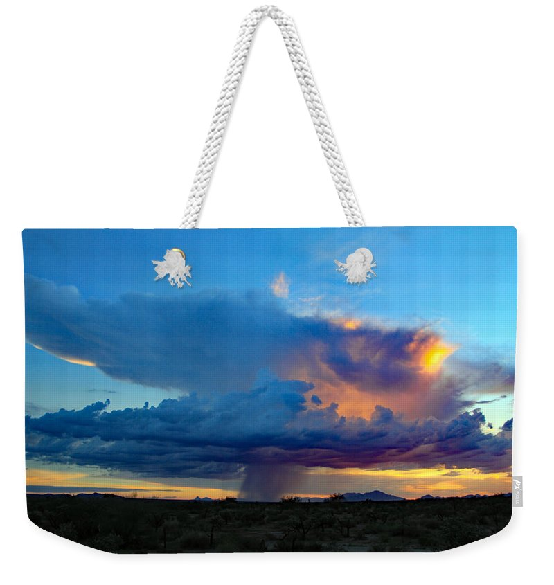 Weekender Tote Bag featuring the photograph Downpour by Kevin Mcenerney