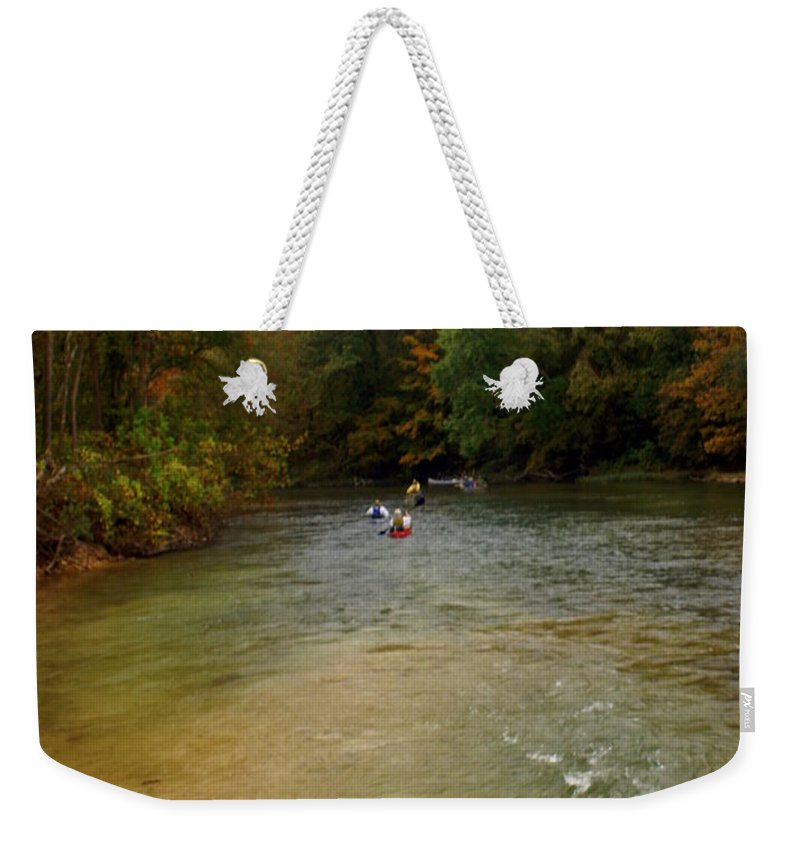 Current River Weekender Tote Bag featuring the photograph Downstream by Marty Koch