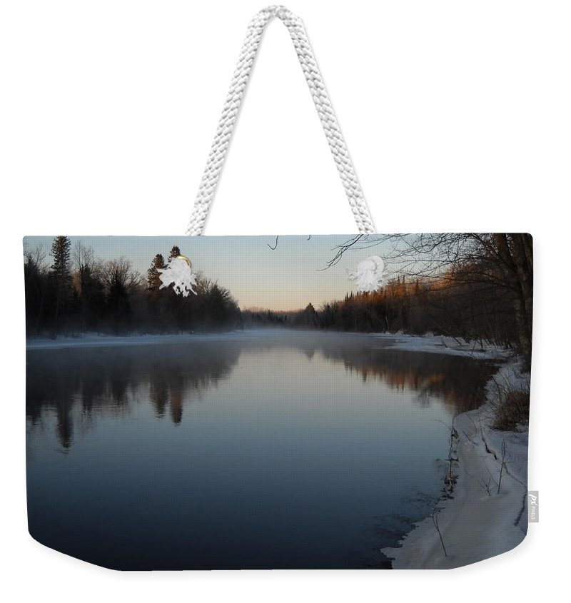 Mississippi River Weekender Tote Bag featuring the photograph Downstream Mississippi River After Ice Out by Kent Lorentzen