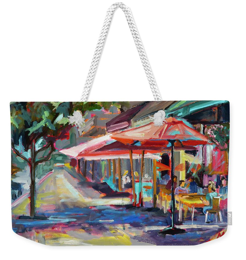 Plein Air Painting Weekender Tote Bag featuring the painting Downtown Bistro by Marie Massey