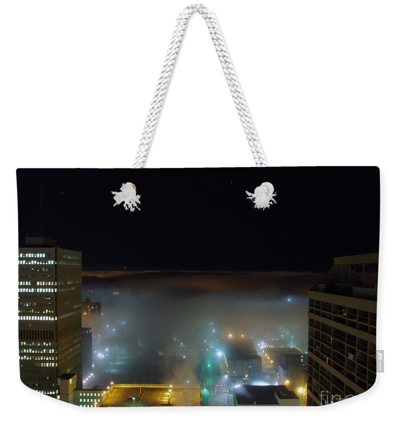 Photograph Weekender Tote Bag featuring the photograph downtown Calgary2 by Seon-Jeong Kim