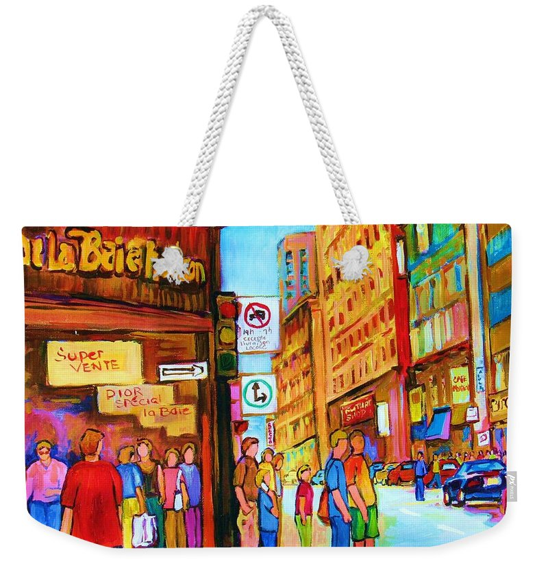Cityscape Weekender Tote Bag featuring the painting Downtown by Carole Spandau