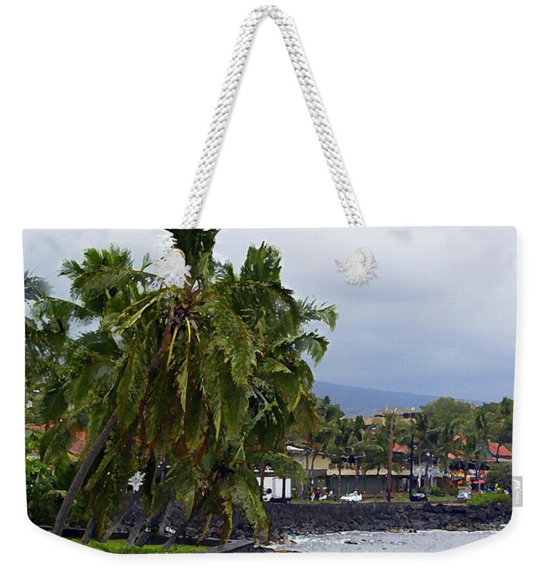 Landscape Weekender Tote Bag featuring the painting Downtown Kona by Athala Carole Bruckner