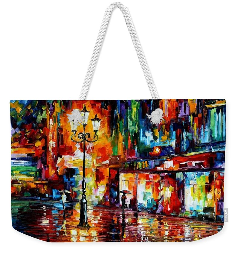 Afremov Weekender Tote Bag featuring the painting Downtown Lights by Leonid Afremov