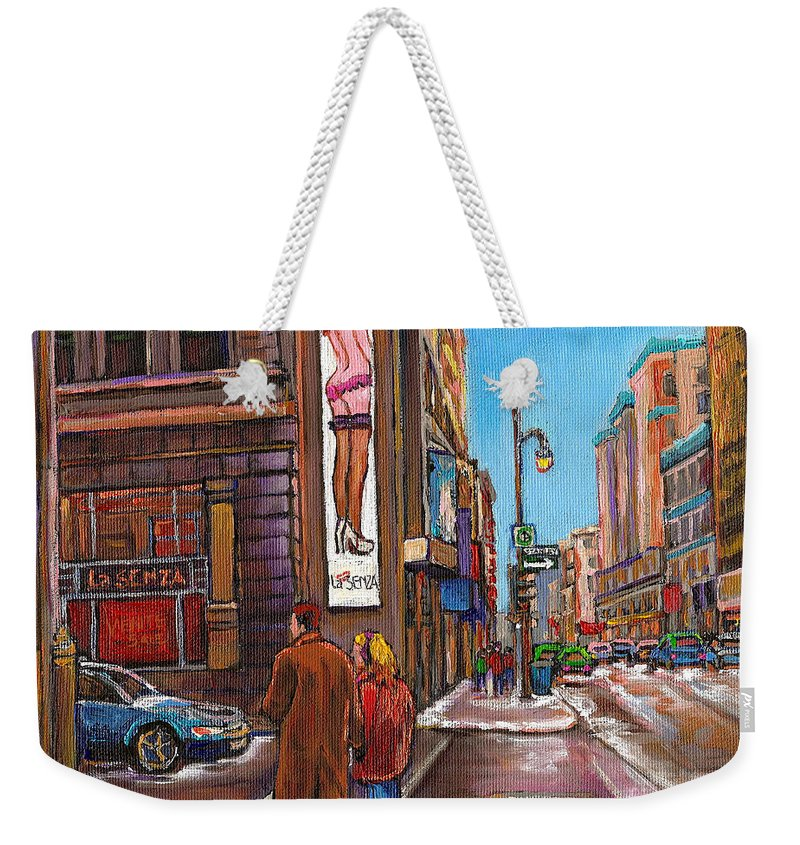 Montreal Weekender Tote Bag featuring the painting Downtown Montreal Streetscene At La Senza by Carole Spandau