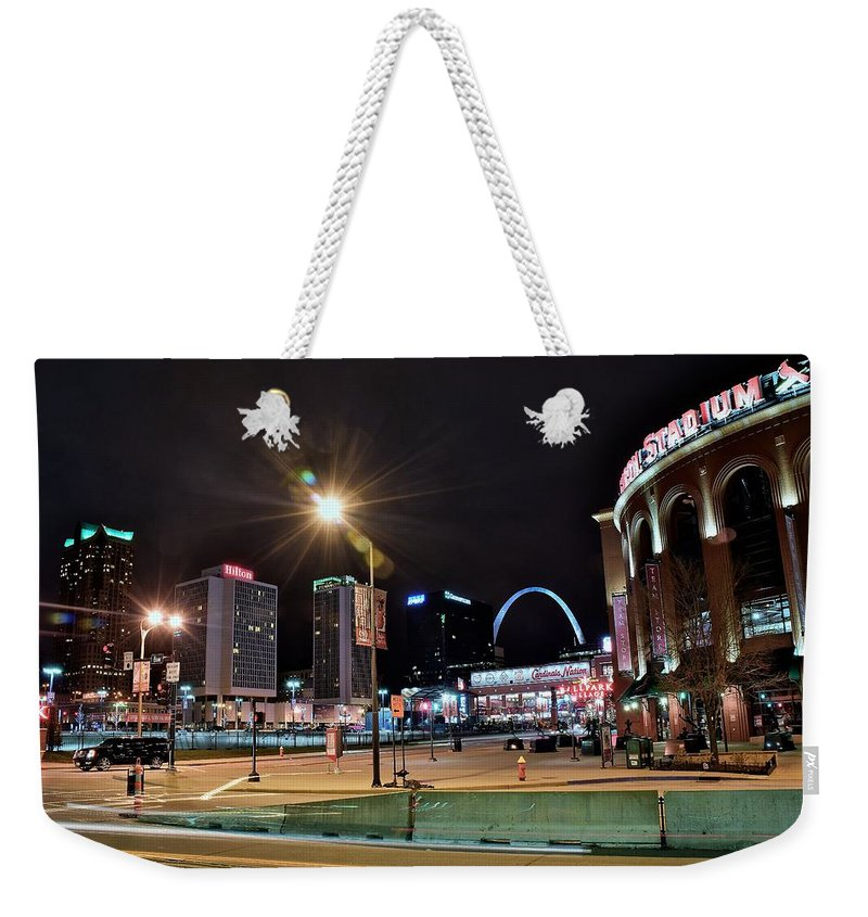 Saint Weekender Tote Bag featuring the photograph Downtown Saint Louis by Frozen in Time Fine Art Photography