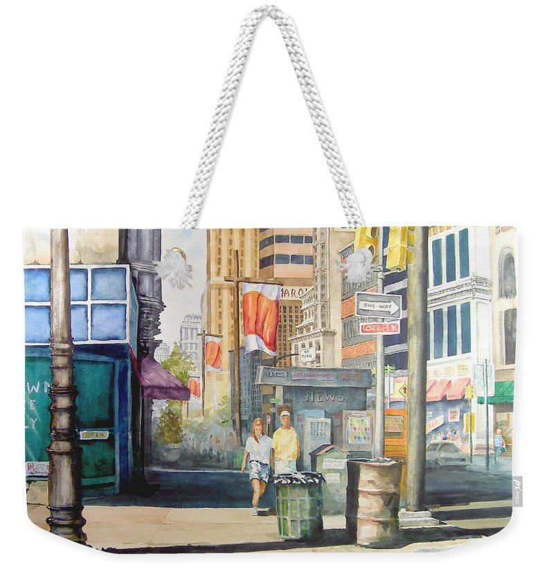 City Weekender Tote Bag featuring the painting Downtown by Sam Sidders