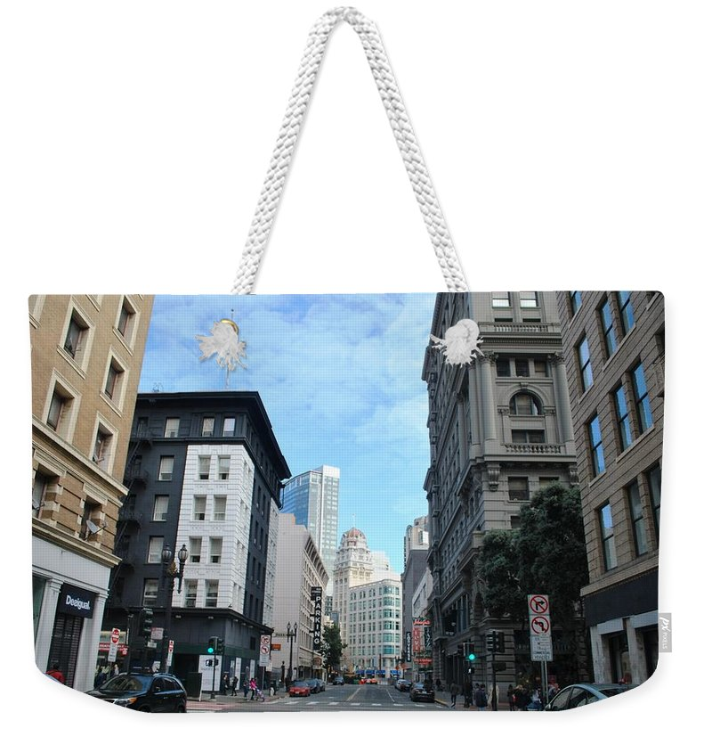 City Weekender Tote Bag featuring the photograph Downtown San Francisco Street Level by Matt Harang