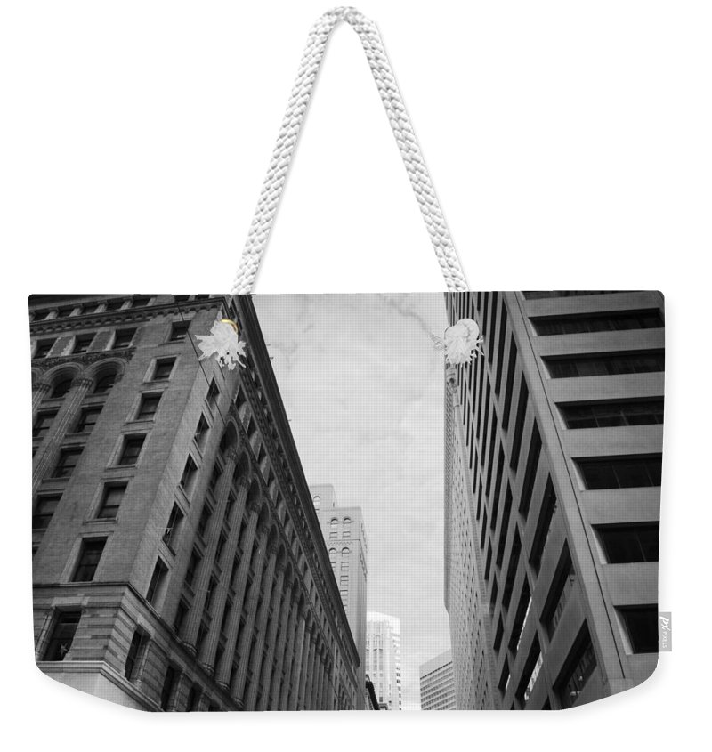 City Weekender Tote Bag featuring the photograph Downtown San Francisco Street View - Black And White 2 by Matt Harang