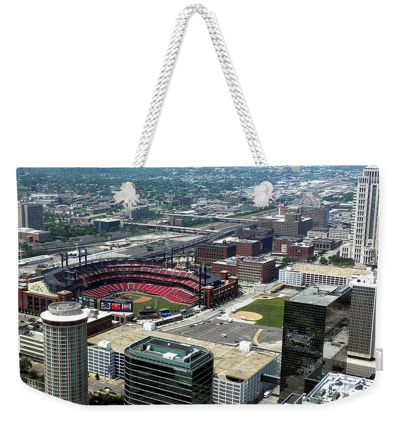 Red Birds Weekender Tote Bag featuring the photograph Downtown St. Louis 2 by Thomas Woolworth