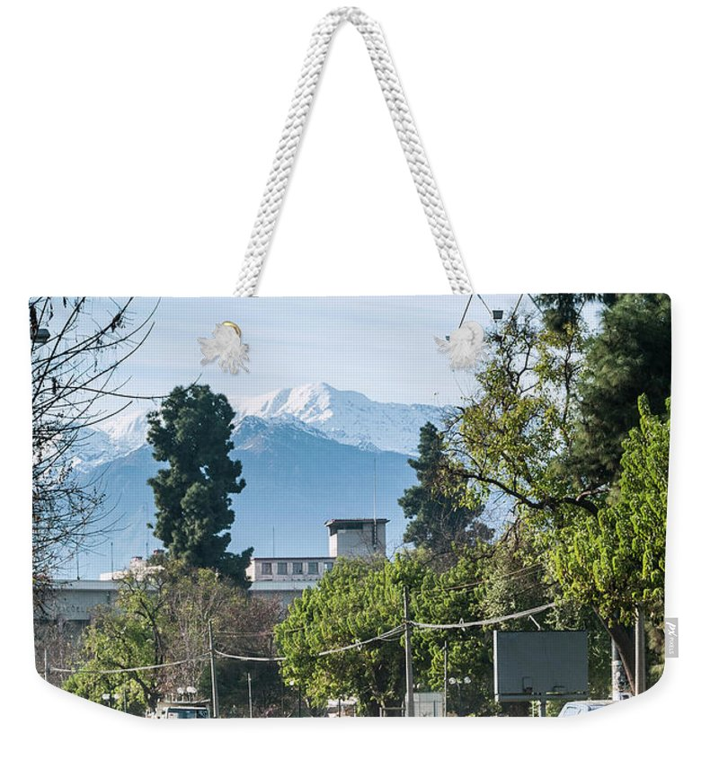 Andes Weekender Tote Bag featuring the photograph Downtown Street In Santiago De Chile City And Andes Mountains by Jacek Malipan