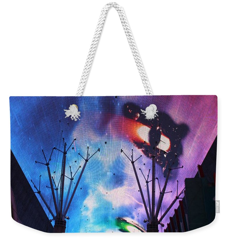 Las Vegas Weekender Tote Bag featuring the photograph Downtown Vegas Night by John W Smith III