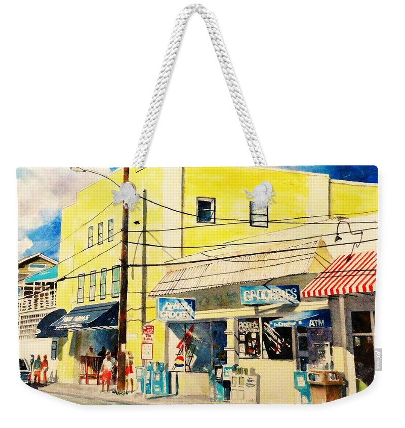 Wrightsville Beach Weekender Tote Bag featuring the painting Downtown Wrightsville Beach by Tom Harris