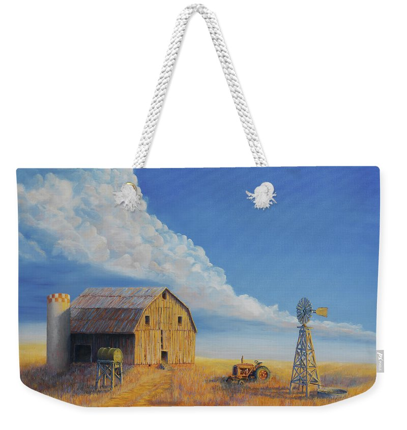 Barn Weekender Tote Bag featuring the painting Downtown Wyoming by Jerry McElroy
