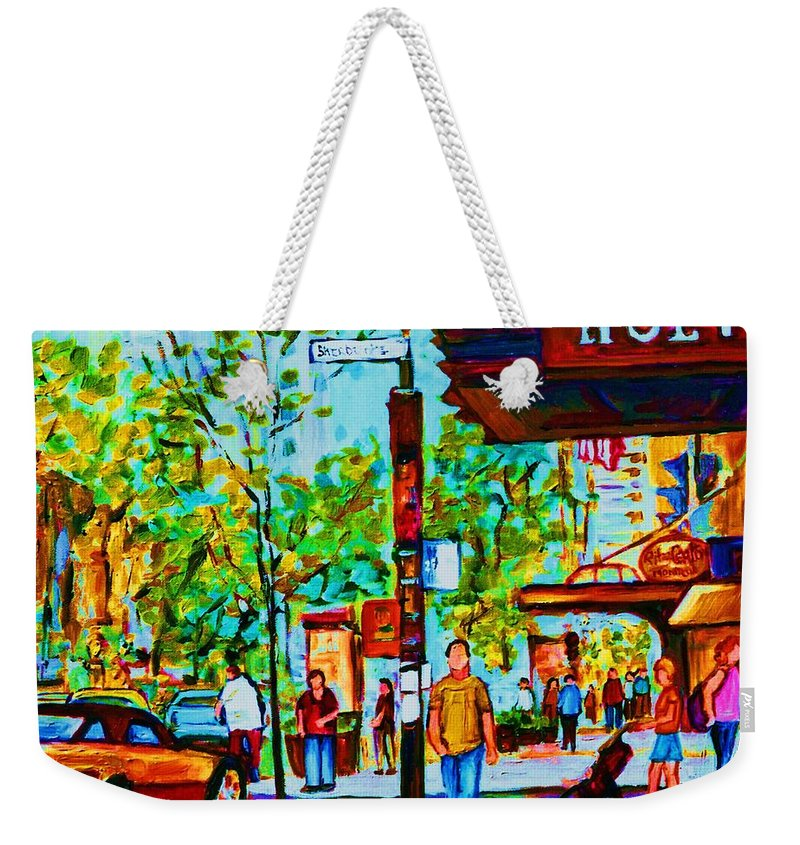 Montreal Streetscene Weekender Tote Bag featuring the painting Downtowns Popping by Carole Spandau