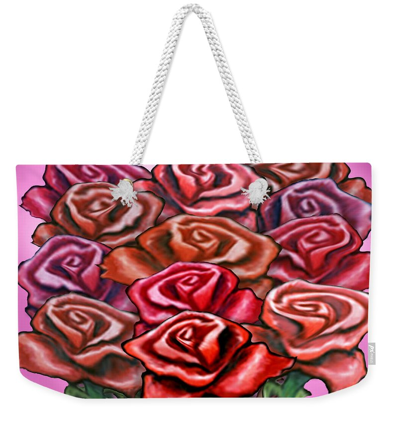 Rose Weekender Tote Bag featuring the painting Dozen Roses by Kevin Middleton