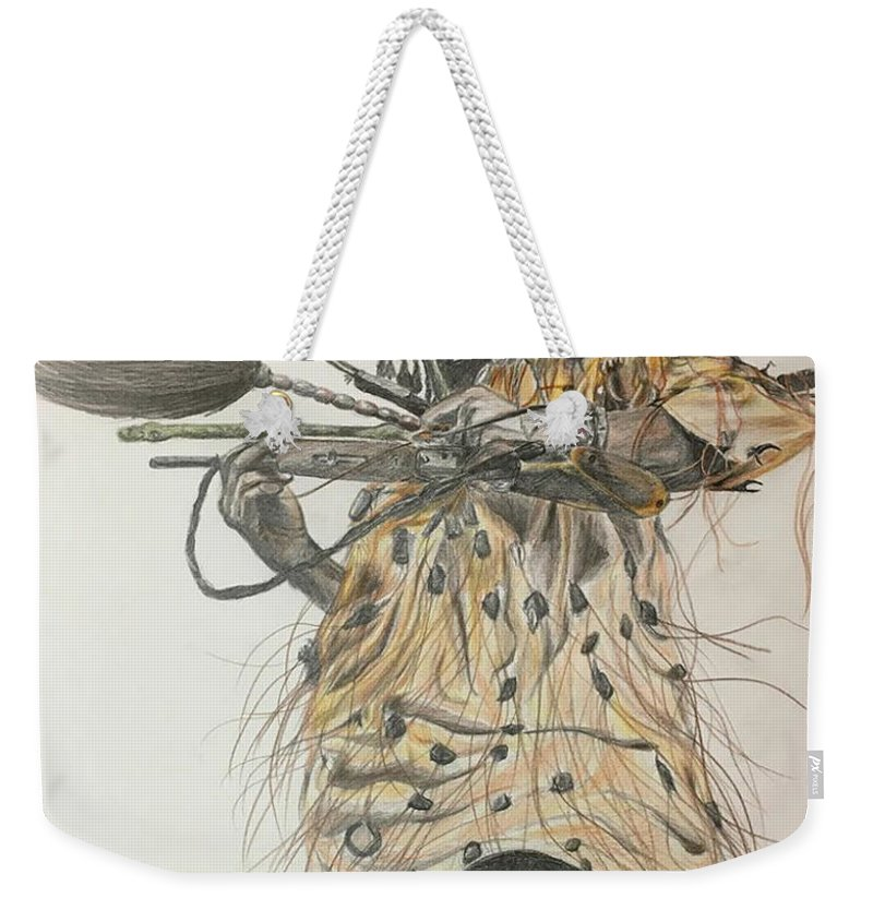 African Weekender Tote Bag featuring the drawing Dozo Warrior by Olivia Gbery