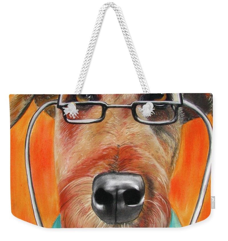 Michelle Hayden-marsan Painting Weekender Tote Bag featuring the painting Dr. Dog by Michelle Hayden-Marsan