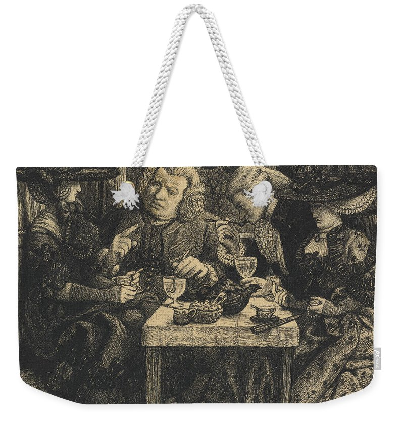 Dr Weekender Tote Bag featuring the drawing Dr Johnson At The Mitre by Dante Gabriel Charles Rossetti