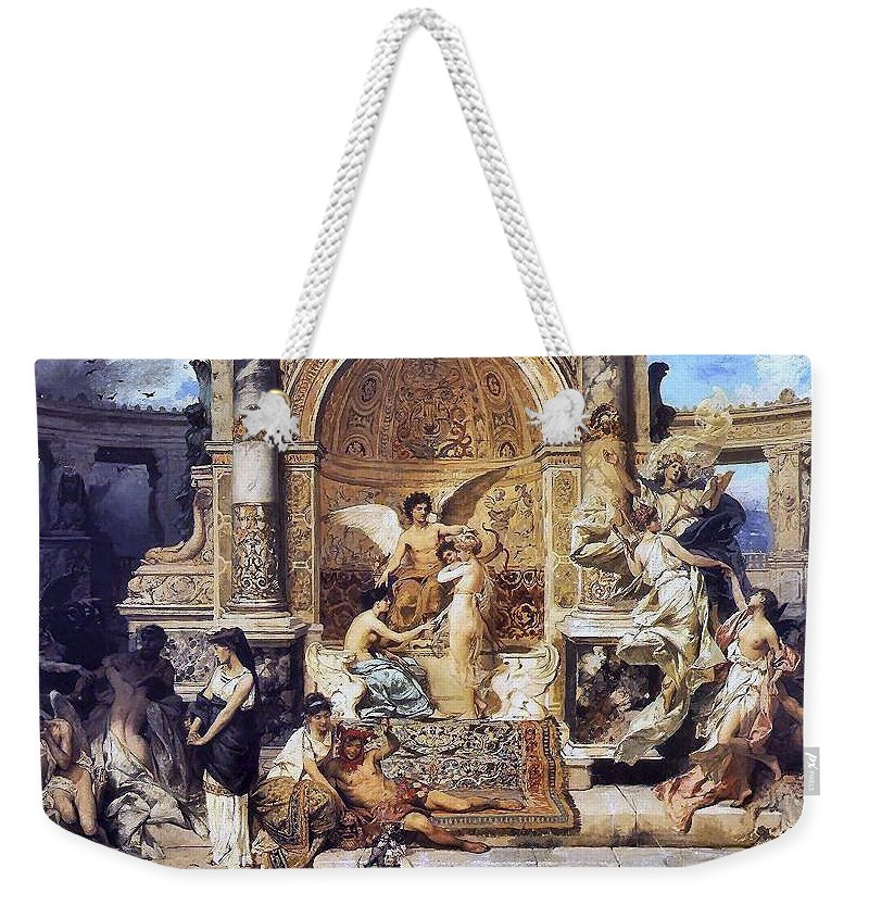 Religion Weekender Tote Bag featuring the digital art Draft Curtain Theatre In Krakow 1894 2 Henryk Semiradsky by Eloisa Mannion