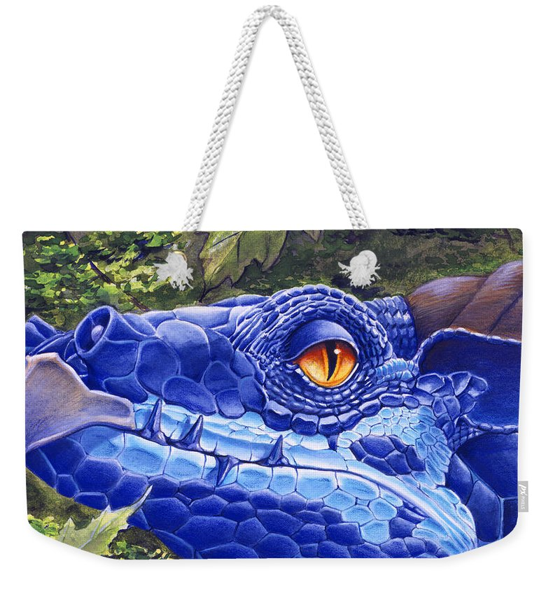 Dragon Weekender Tote Bag featuring the painting Dragon Eyes by Melissa A Benson