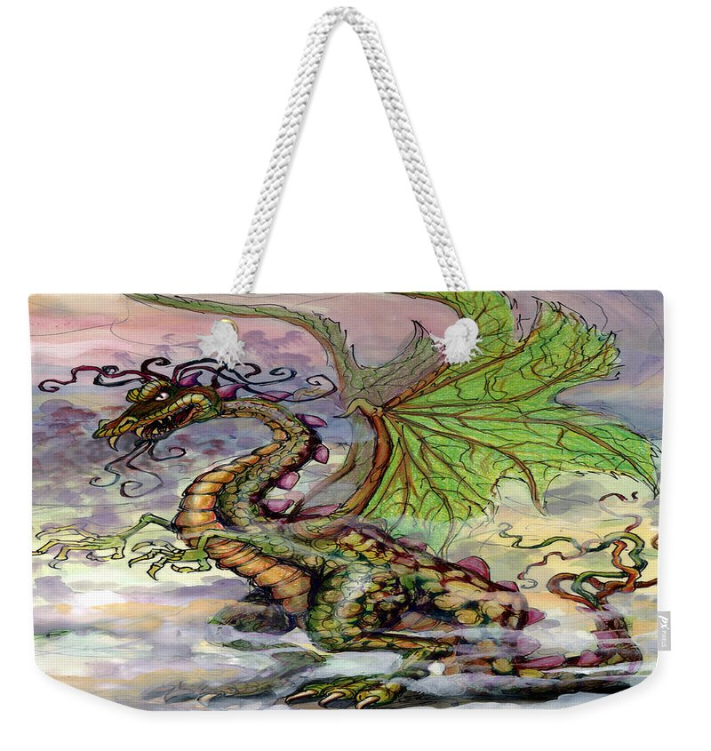 Dragon Weekender Tote Bag featuring the painting Dragon by Kevin Middleton