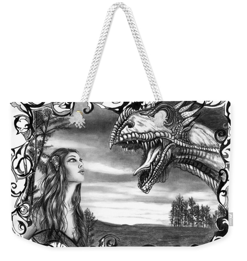 Dragon Whisperer Weekender Tote Bag featuring the drawing Dragon Whisperer by Peter Piatt