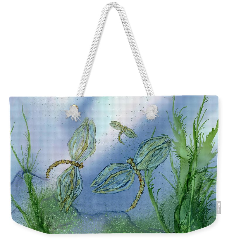 Dragonflies Weekender Tote Bag featuring the painting Dragonflies At Dusk by Debora Boudreau