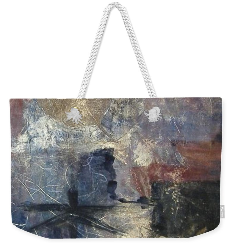 Collage Weekender Tote Bag featuring the mixed media Dragonflies by Pat Snook