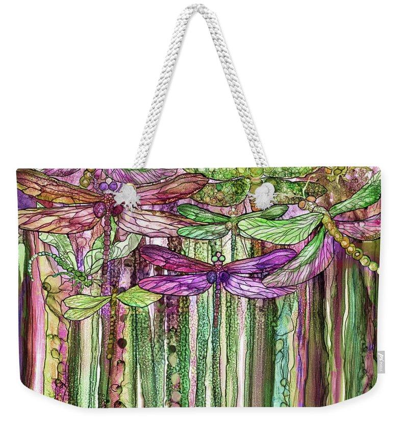 Carol Cavalaris Weekender Tote Bag featuring the mixed media Dragonfly Bloomies 1 - Pink by Carol Cavalaris